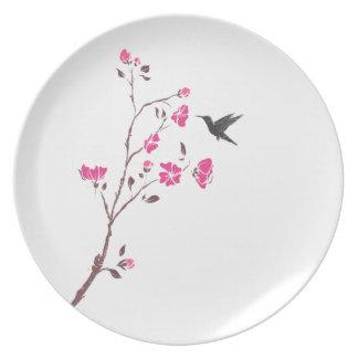 Ramas con el pájaro plato de cena