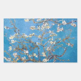 Ramas con la pintura de Van Gogh del flor de la Pegatina Rectangular