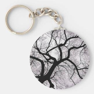 Ramas de árbol del invierno llavero redondo tipo pin