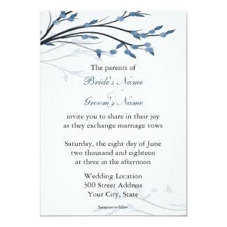 Ramas de árbol florales azules que casan comunicados personales