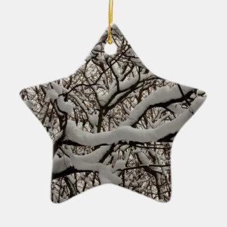 Ramas de árbol nevadas adornos de navidad