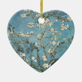 Ramas de la almendra de Vincent van Gogh el | en Adorno Navideño De Cerámica En Forma De Corazón
