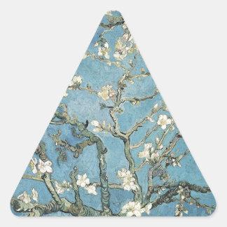 Ramas de la almendra de Vincent van Gogh el | en Pegatina Triangular