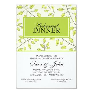 """Ramas de las hojas verdes, cena del ensayo invitación 5"""" x 7"""""""