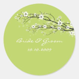 ¡Ramas de los flores de los pegatinas del boda, Pegatina Redonda