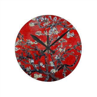 Ramas de Vincent van Gogh con el flor de la almend Relojes De Pared