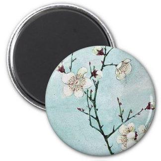 Ramas del ciruelo con los flores Ukiyo-e. Iman De Nevera