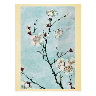 Ramas del ciruelo con los flores Ukiyo-e. Postal
