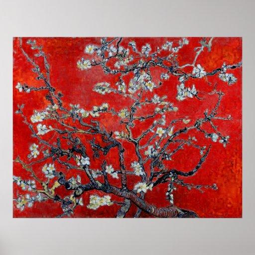 Ramas del ~ de Vincent van Gogh con el flor de la Póster
