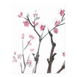 Ramas del flor del ciruelo en postal de la primave