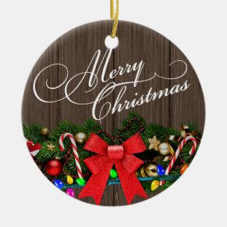 Ramas del marrón oscuro de madera del granero el adorno de navidad
