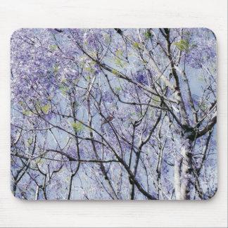 Ramas florales azules de la lavanda tapete de raton