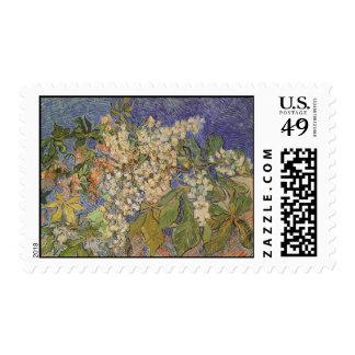 Ramas florecientes de la castaña de Vincent van Estampillas