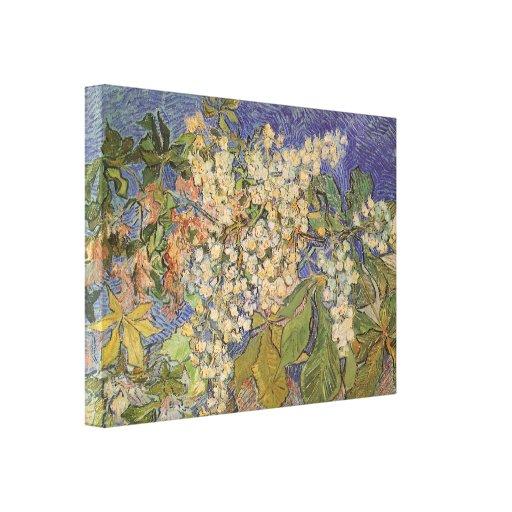 Ramas florecientes de la castaña de Vincent van Impresion En Lona