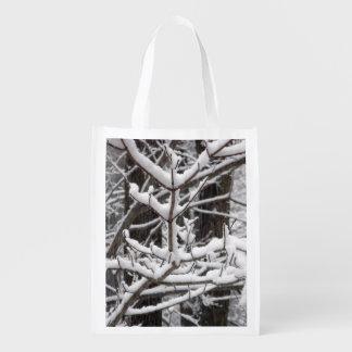 Ramas nevadas bolsa reutilizable