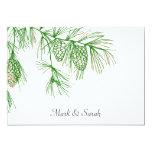 Ramas verdes del pino que casan la invitación invitación 12,7 x 17,8 cm
