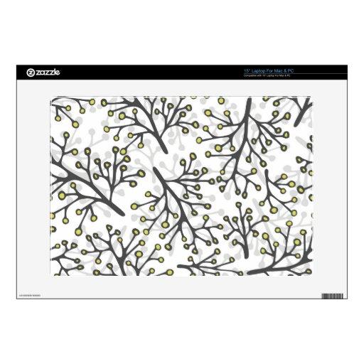 ramas verdes grises sucias en el fondo blanco calcomanías para portátiles