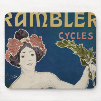 Rambler Bicycle Woman Graphic Bold Color Bikes Mouse Pad
