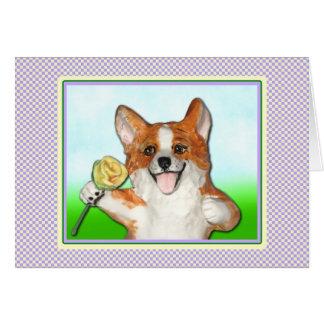 Ramblin' Rose Corgi Greeting Card