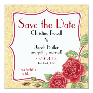 Rambling Rose - Gold - Save the Date Card