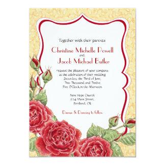 Rambling Rose - Gold - Wedding Invitation