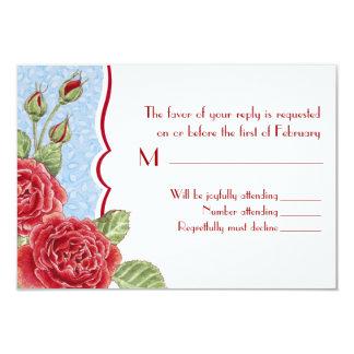 Rambling Rose RSVP Card - Sky Blue