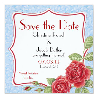 Rambling Rose - Sky Blue - Save the Date Card