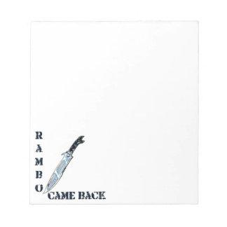 rambo came back knife cartoon style illustration notepad