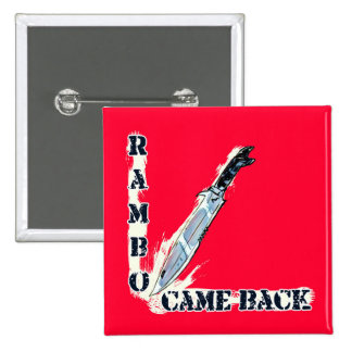 rambo came back knife cartoon style illustration pinback button