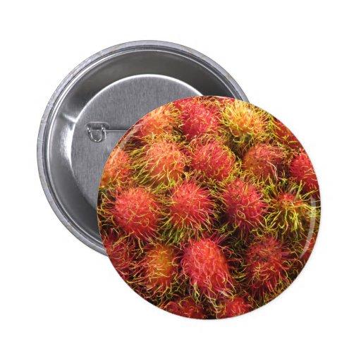 Rambutan Tropical Fruit Pinback Buttons