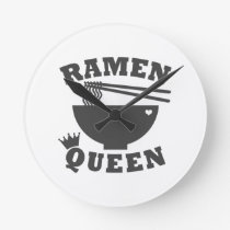 Ramen Queen Round Clock