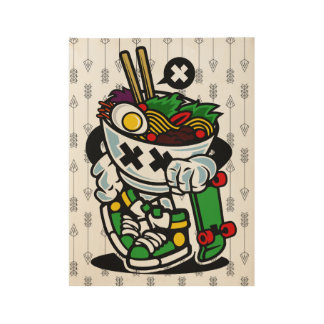 """""""Ramen Roy"""" the Skater  Wood Poster, 19"""" x 14.5"""" Wood Poster"""