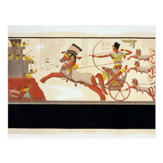 Ramesses II (1279-13 A.C.) en la batalla de Postales