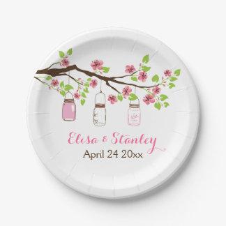 Ramifique con el boda rosado de la primavera de plato de papel de 7 pulgadas