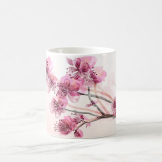 Ramifique con los flores rosados tazas