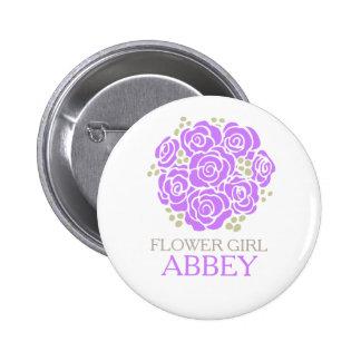 Ramillete púrpura del florista nombrado casando el pin redondo de 2 pulgadas