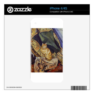 Raminou sitting on a cloth by Suzanne Valadon Decal For iPhone 4