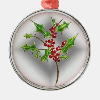 ramita del acebo adorno navideño redondo de metal