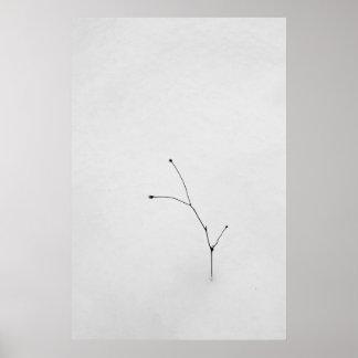 Ramita solitaria en nieve poster