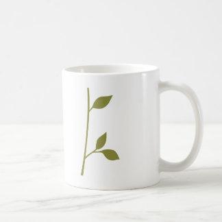 Ramita y hoja taza básica blanca