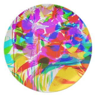 Ramo abstracto de la flor del arte pop de la MOD Plato De Cena