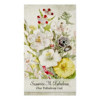 Ramo amarillo rojo blanco de la flor tarjetas de visita