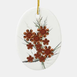 Ramo anaranjado del arte del fractal adorno navideño ovalado de cerámica