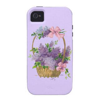 Ramo antiguo de la flor de las lilas púrpuras del  vibe iPhone 4 carcasa