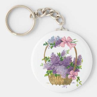Ramo antiguo de la flor de las lilas púrpuras del  llavero personalizado