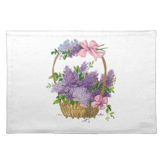 Ramo antiguo de la flor de las lilas púrpuras del  manteles individuales