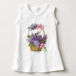 Ramo antiguo de la flor de las lilas púrpuras del polera