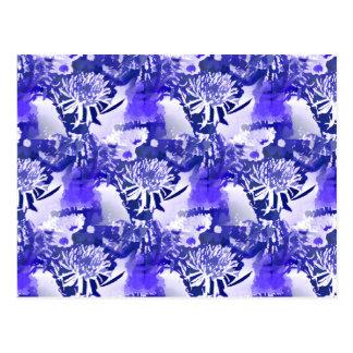 Ramo azul de la flor en impresión floral del tarjetas postales