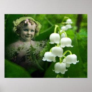 Ramo blanco dulce de la flor de Bell del lirio de  Poster