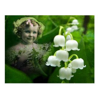 Ramo blanco dulce de la flor de Bell del lirio de  Tarjeta Postal
